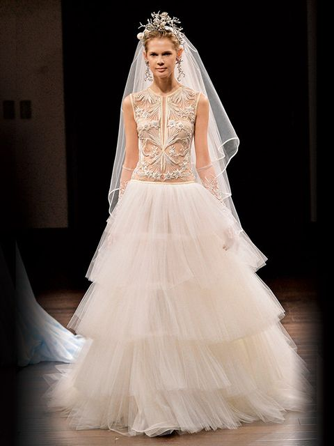 Gown, Wedding dress, Dress, Clothing, Fashion model, Bridal accessory, Bridal clothing, Bride, Shoulder, Bridal party dress,