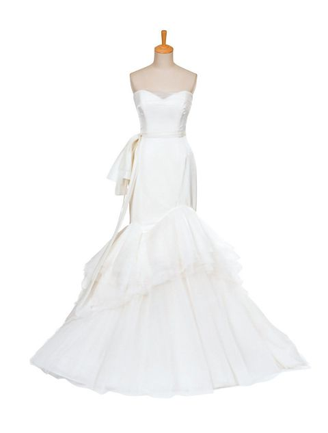 Clothing, Gown, Wedding dress, Dress, White, Bridal clothing, Bridal party dress, Shoulder, Strapless dress, A-line,