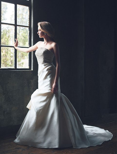 Gown, Wedding dress, Dress, Clothing, Bride, Bridal clothing, Shoulder, Photograph, Fashion model, Bridal party dress,