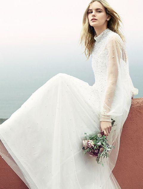 Wedding dress, Gown, Clothing, Dress, Bridal clothing, Bride, Shoulder, Fashion model, Bridal party dress, Bridal accessory,