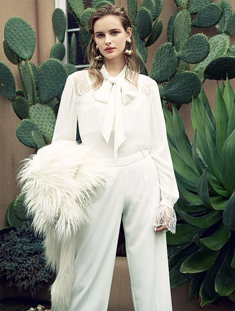 Clothing, White, Green, Fashion, Haute couture, Pantsuit, Trousers, Sleeve, Suit, Fashion model,