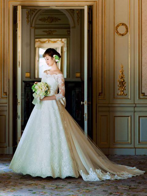 Clothing, Bridal clothing, Dress, Shoulder, Textile, Photograph, Door, Wedding dress, Gown, Formal wear,