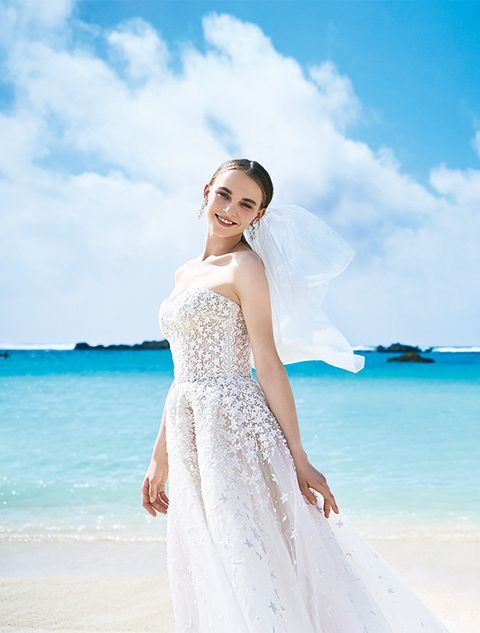 Dress, Clothing, Gown, Wedding dress, Photograph, White, Shoulder, Blue, Bridal clothing, Skin,