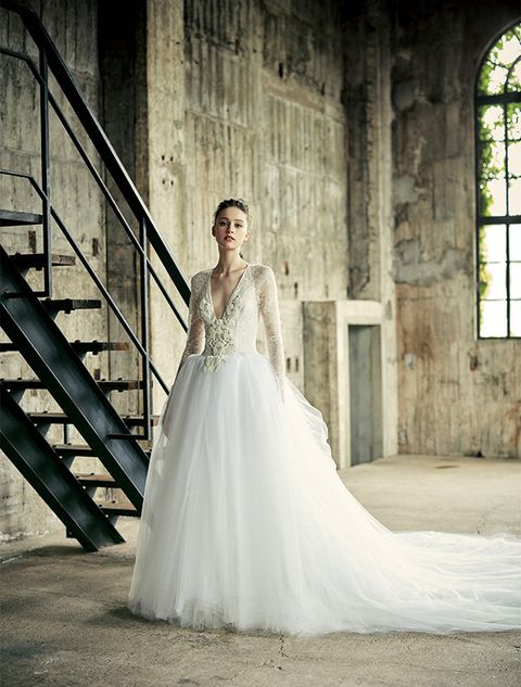 Gown, Wedding dress, Dress, Bride, Clothing, Photograph, Bridal clothing, Shoulder, Bridal party dress, Beauty,