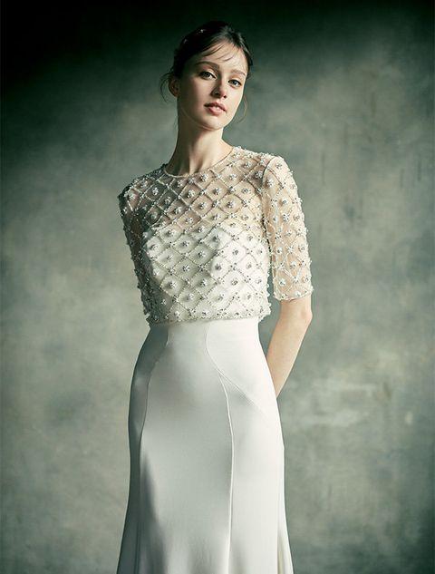 Fashion model, Clothing, White, Dress, Gown, Fashion, Shoulder, Beauty, Neck, Wedding dress,