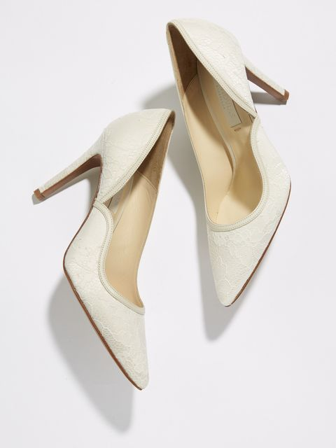 Footwear, White, Shoe, Beige, Slingback, Court shoe, High heels,