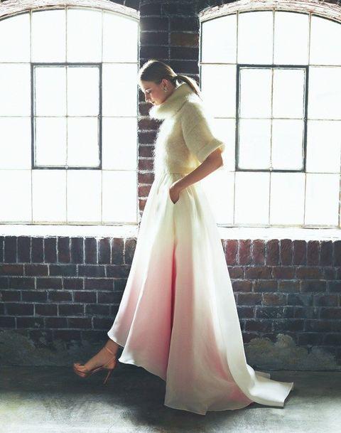 Clothing, White, Dress, Gown, Shoulder, Pink, Fashion, Wedding dress, Formal wear, Bride,