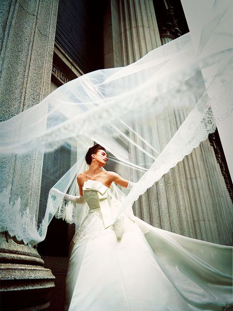 Bridal clothing, Sleeve, Shoulder, Dress, Textile, Photograph, Wedding dress, Bridal veil, Bride, Gown,