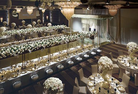Function hall, Decoration, Banquet, Interior design, Aisle, Ballroom, Building, Table, Room, Architecture,