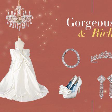 Dress, Text, Gown, Wedding dress, Font, Bridal clothing, Peach, Formal wear, Ornament, Bride,