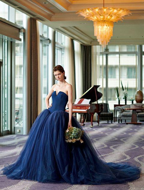 Gown, Dress, Clothing, Shoulder, Blue, Formal wear, Strapless dress, Bridal party dress, A-line, Fashion,