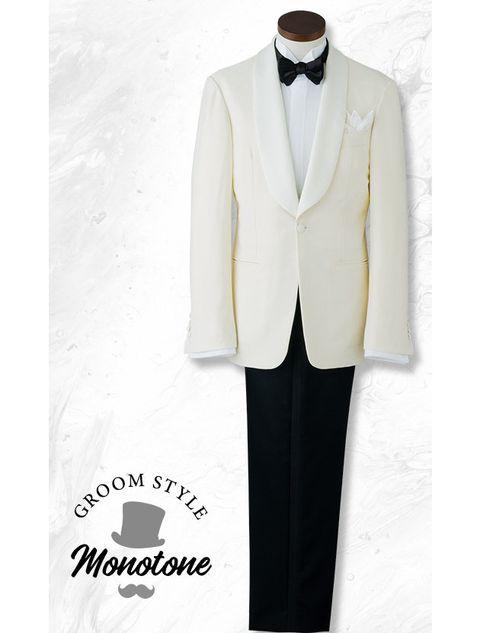 Suit, Clothing, White, Formal wear, Tuxedo, Outerwear, Blazer, Jacket, Collar, Button,
