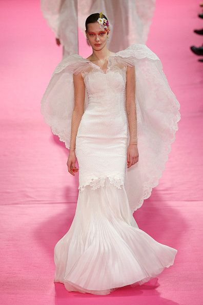 Fashion model, Gown, Dress, Clothing, Wedding dress, Fashion, Shoulder, Haute couture, Pink, Bridal clothing,