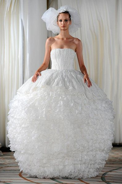 Gown, Wedding dress, Clothing, Dress, Bride, Bridal party dress, Bridal clothing, Fashion model, Shoulder, Strapless dress,