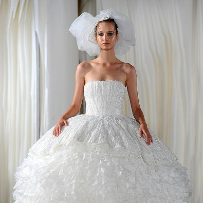 Gown, Wedding dress, Clothing, Dress, Bride, Bridal party dress, Bridal clothing, Fashion model, Shoulder, Strapless dress,