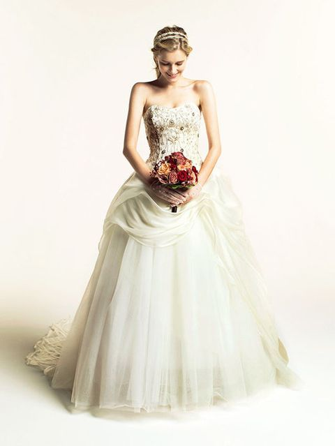 Clothing, Dress, Shoulder, Bridal clothing, Textile, Photograph, Joint, White, Standing, Wedding dress,