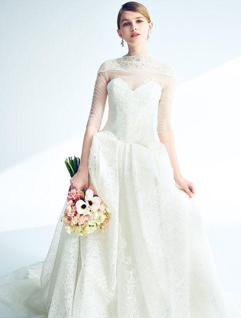Gown, Wedding dress, Clothing, Dress, Bridal clothing, Bridal party dress, Shoulder, Photograph, Bride, Fashion model,