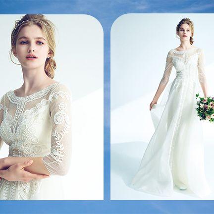 Gown, Clothing, Dress, Wedding dress, White, Shoulder, Bride, Fashion model, Bridal clothing, Bridal party dress,