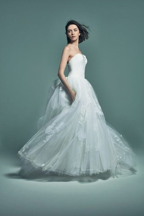 Clothing, Hairstyle, Dress, Sleeve, Shoulder, Textile, Photograph, Bridal clothing, Standing, White,