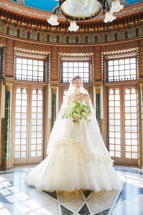 Wedding dress, Gown, Bride, Dress, Photograph, Bridal clothing, Clothing, Bridal party dress, Bridal accessory, Formal wear,