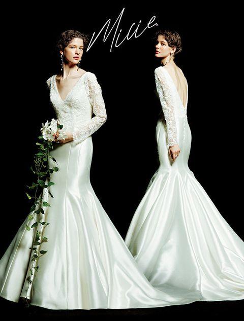 Gown, Wedding dress, Dress, Clothing, Fashion model, Bridal clothing, Bride, Bridal party dress, Shoulder, Bridal accessory,