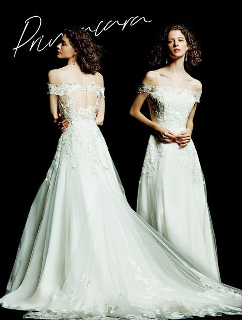 Gown, Wedding dress, Clothing, Fashion model, Dress, Shoulder, Bridal party dress, Bridal clothing, Bride, A-line,