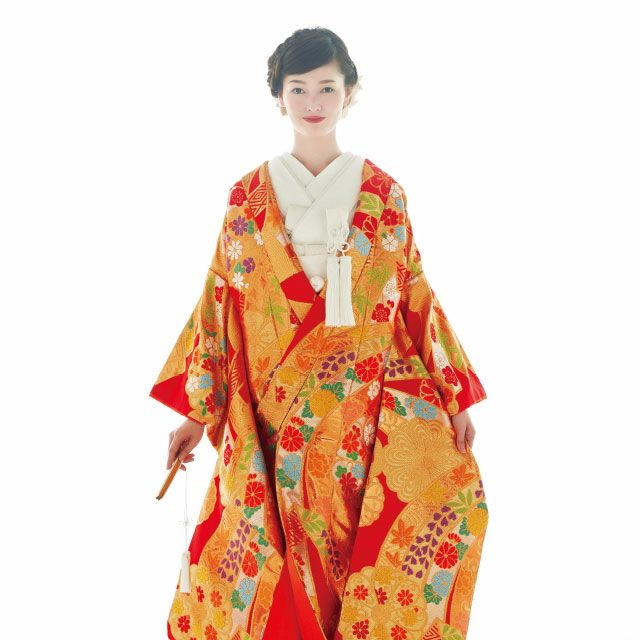 Sleeve, Standing, Style, Costume, Kimono, Orange, Costume design, Fashion design, Tradition, Silk,
