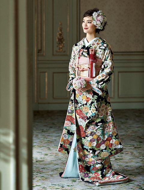 Clothing, Costume, Fashion, Kimono, Hairstyle, Dress, Fashion design, Street fashion, Tradition, Fashion model,