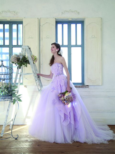 Gown, Wedding dress, Dress, Bride, Clothing, Photograph, Bridal party dress, Bridal clothing, Purple, Shoulder,