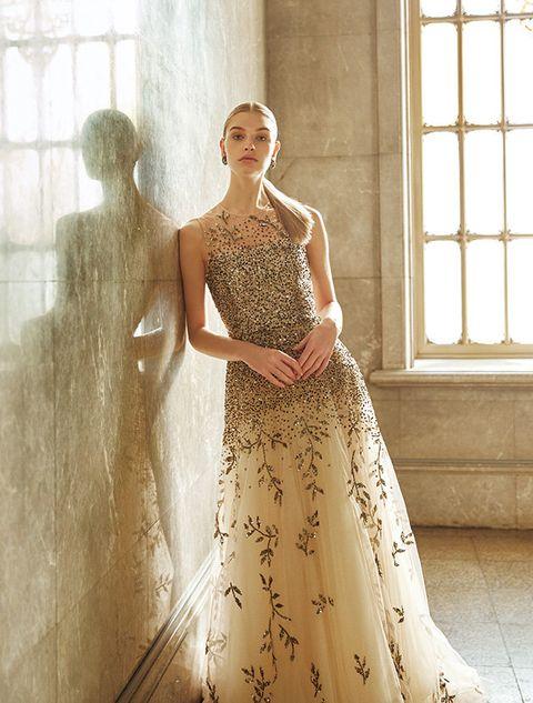 Gown, Dress, Clothing, Wedding dress, Fashion model, Bridal party dress, Shoulder, Fashion, Bridal clothing, Haute couture,