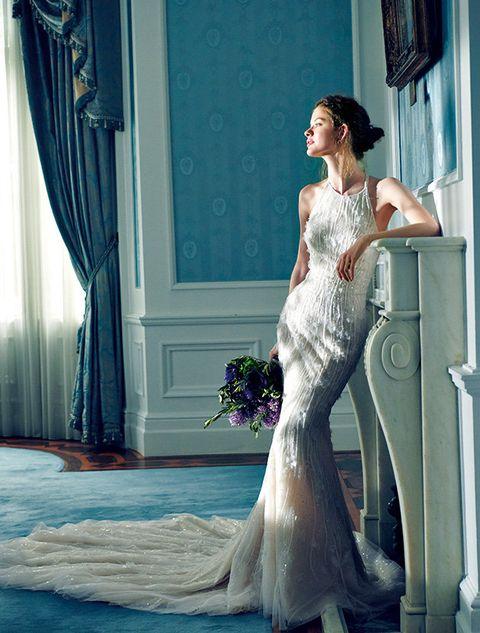 Gown, Wedding dress, Dress, Bride, Clothing, Bridal clothing, Shoulder, Photograph, Bridal party dress, Beauty,