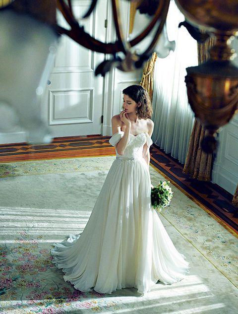 Gown, Dress, Wedding dress, Bride, Clothing, Photograph, Shoulder, Bridal clothing, Bridal accessory, Bridal party dress,