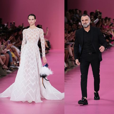 Fashion model, Fashion, Haute couture, Runway, Clothing, Fashion show, Dress, Shoulder, Pink, Neck,