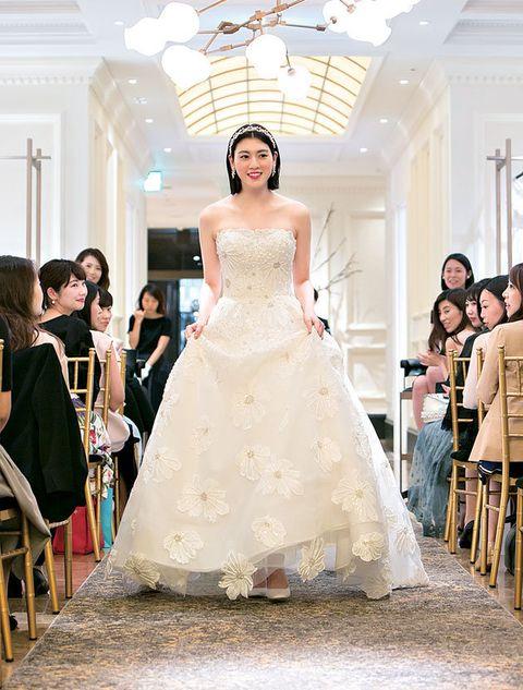 Wedding dress, Gown, Dress, Clothing, Fashion model, Bride, Photograph, Bridal clothing, Shoulder, Fashion,