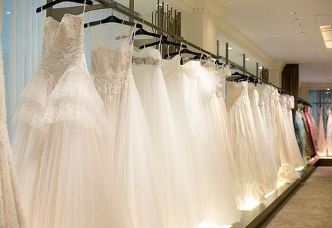 Dress, Clothing, Gown, Room, Textile, Ceiling, Wedding dress, Bridal clothing, Interior design, Haute couture,