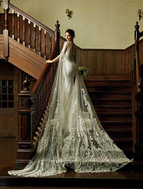 Gown, Wedding dress, Dress, Clothing, Bride, Bridal clothing, Bridal accessory, Bridal party dress, Fashion, Formal wear,