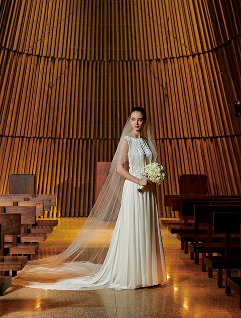Photograph, Bride, Dress, Gown, Bridal accessory, Wedding dress, Yellow, Veil, Bridal clothing, Bridal veil,