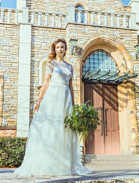 Wedding dress, Dress, Photograph, Gown, Clothing, Bride, Bridal clothing, Beauty, Shoulder, Yellow,