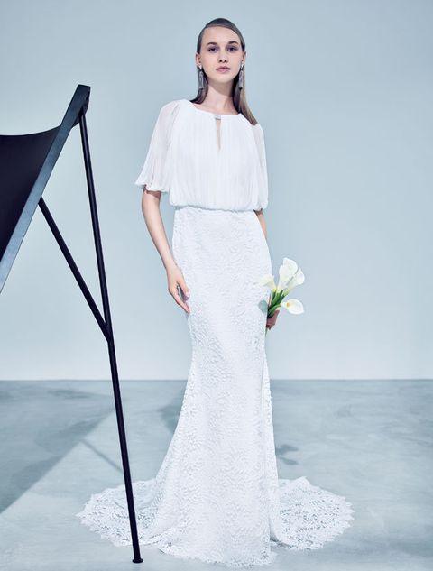 Clothing, Fashion model, Gown, Dress, Wedding dress, White, Shoulder, Bridal clothing, Bridal party dress, Fashion,