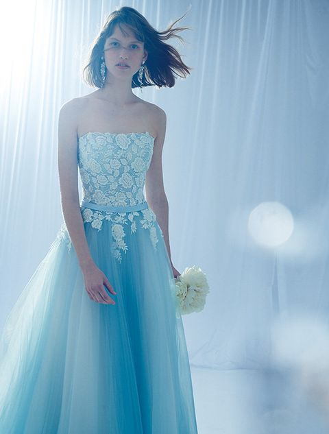 Dress, Gown, Clothing, Blue, Shoulder, Bridal party dress, Aqua, Wedding dress, Formal wear, Turquoise,