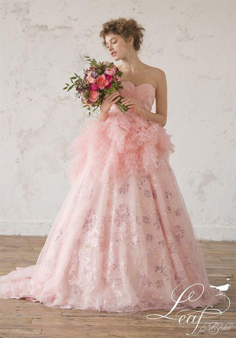 Gown, Wedding dress, Dress, Clothing, Bride, Photograph, Bridal clothing, Pink, Bridal party dress, Shoulder,