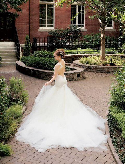 Bride, Wedding dress, Gown, Dress, Photograph, Bridal clothing, Clothing, Bridal party dress, Bridal accessory, Shoulder,