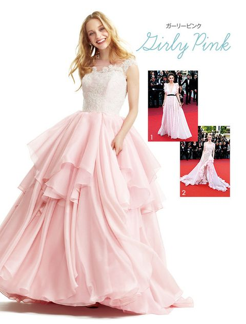 Gown, Clothing, Dress, Bridal party dress, Fashion model, Pink, Shoulder, A-line, Wedding dress, Formal wear,