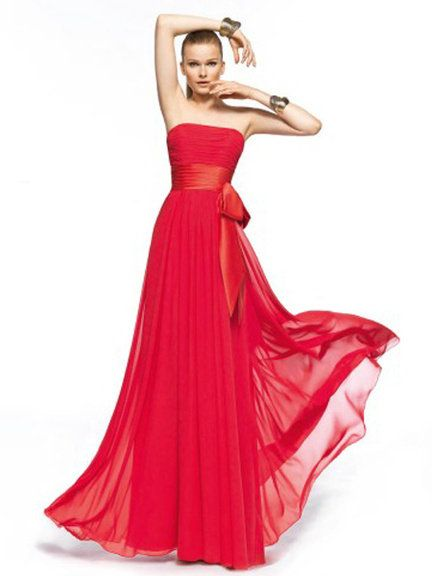 Dress, Gown, Fashion model, Clothing, Shoulder, Formal wear, A-line, Red, Strapless dress, Pink,