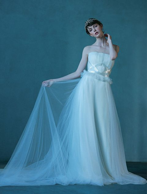 Gown, Dress, Wedding dress, Clothing, Bridal party dress, Fashion model, Shoulder, Bridal clothing, Bridal accessory, Blue,