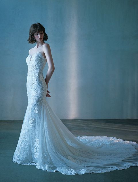 Gown, Wedding dress, Dress, Clothing, Fashion model, Bridal party dress, Shoulder, Bride, Bridal clothing, Photograph,
