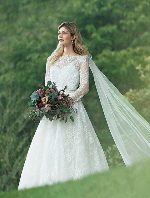 Wedding dress, Bride, Gown, Dress, Photograph, Clothing, Bridal clothing, Bridal accessory, Bridal veil, Shoulder,