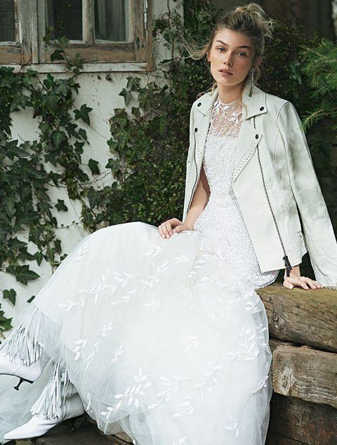 Wedding dress, Clothing, Gown, Dress, White, Bridal clothing, Bride, Bridal party dress, A-line, Shoulder,