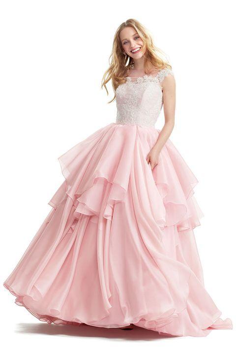 Gown, Clothing, Dress, Bridal party dress, Pink, Fashion model, Shoulder, Wedding dress, A-line, Formal wear,