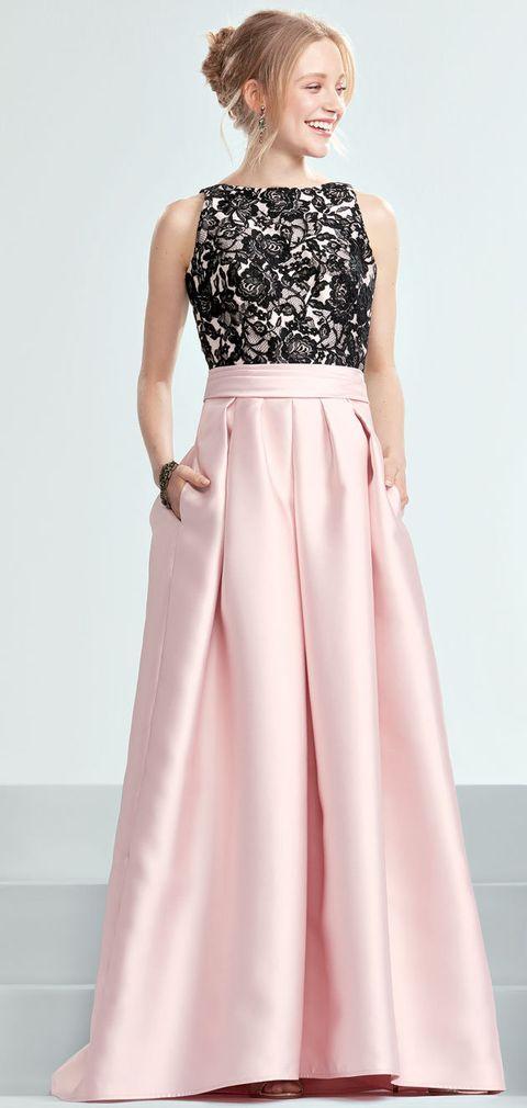 Clothing, Dress, Gown, Fashion model, Pink, A-line, Shoulder, Day dress, Fashion, Neck,